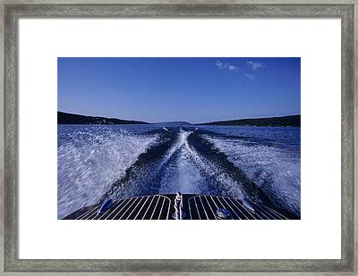 Waves Left In The Wake Of A Boat Framed Print by Kenneth Garrett