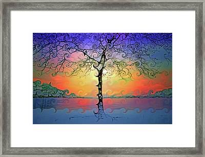 Waves Of Colour And Light Framed Print