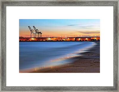 Framed Print featuring the photograph Waves Of Industry - Gulfport Mississippi - Sunset by Jason Politte