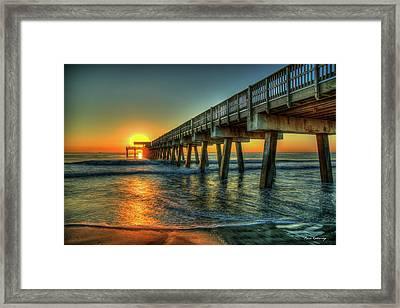 Waves Of Sunlight Dawns Early Light Tybee Island Pier Art Framed Print