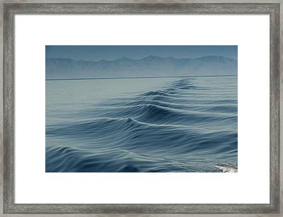 Waves On Aegean Sea Behind The Ship Framed Print