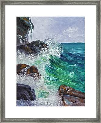 Framed Print featuring the painting Waves On Maui by Darice Machel McGuire
