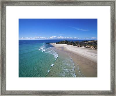 Waves Rolling In To North Point Beach On Moreton Island Framed Print