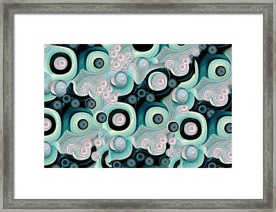 Waves Seashells Foam And Stones In Aqua Framed Print by Jacqueline Migell