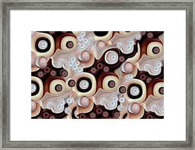 Waves Seashells Foam And Stones In Brown Framed Print by Jacqueline Migell