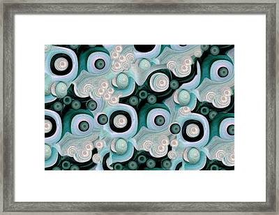 Waves Seashells Foam And Stones In Turquoise Framed Print by Jacqueline Migell