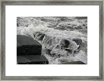 Waves Splashing Stones 2 Framed Print
