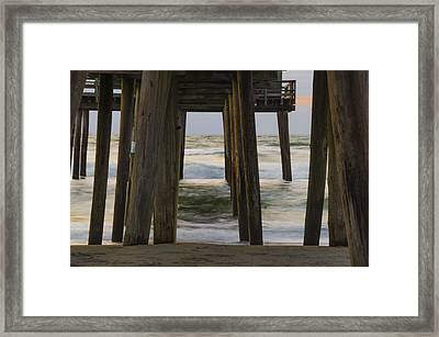 Waves Under The 32nd Street Pier - Avalon New Jersey Framed Print by Bill Cannon