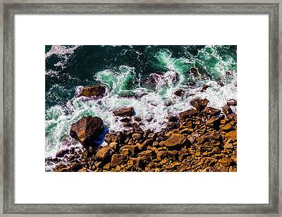 Waves Washing Up On Rocks Framed Print
