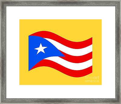 Waving Puerto Rico Flag Framed Print by Frederick Holiday