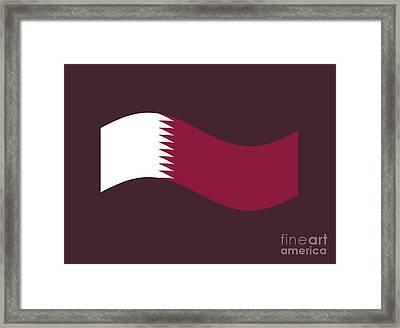 Waving Qatar Flag Framed Print by Frederick Holiday
