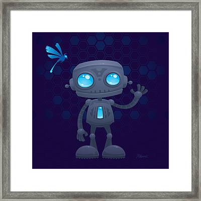 Waving Robot Framed Print by John Schwegel
