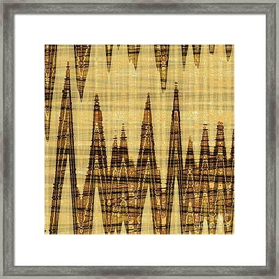 Wavy Golden Abstract Framed Print