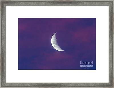 Waxing Moon In Pink Clouds Framed Print by Alan Dyer