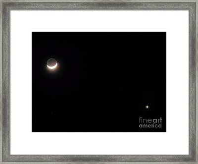 Waxing Moon With Venus Framed Print by D Hackett