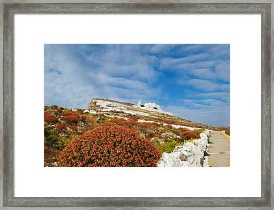 Way To The Top. Folegandros, One Of The Islands In The Cyclades Framed Print by Yuri Hope