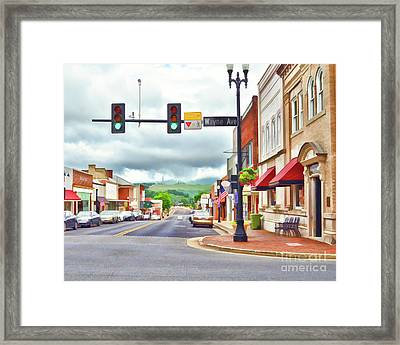 Framed Print featuring the photograph Wayne Avenue - Downtown Waynesboro Virginia - Art Of The Small Town by Kerri Farley