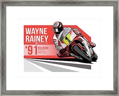 Wayne Rainey - 1991 Paul Ricard Framed Print by Evan DeCiren