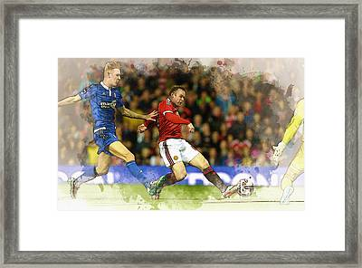 Wayne Rooney Of Manchester United Scores Framed Print by Don Kuing