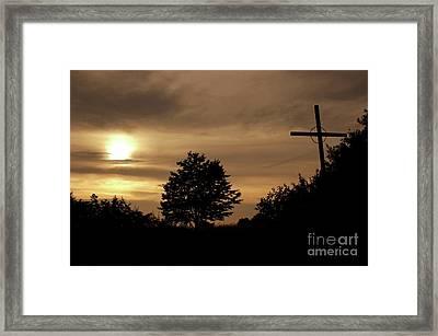 Wayside Cross In The Dusk Framed Print