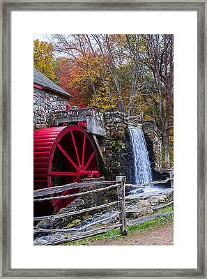 Wayside Inn Grist Mill Autumn Sudbury Ma Framed Print
