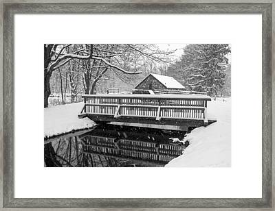 Wayside Inn Grist Mill Covered In Snow Bridge Reflection Black And White Framed Print