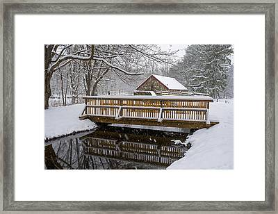 Wayside Inn Grist Mill Covered In Snow Bridge Reflection Framed Print