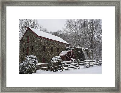 Wayside Inn Grist Mill Covered In Snow Fence Framed Print