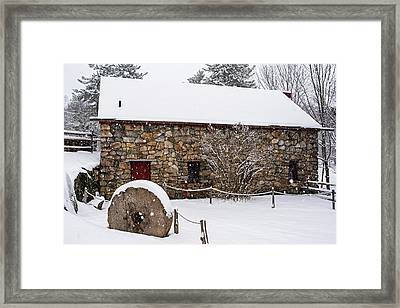 Wayside Inn Grist Mill Covered In Snow Millstone Framed Print by Toby McGuire
