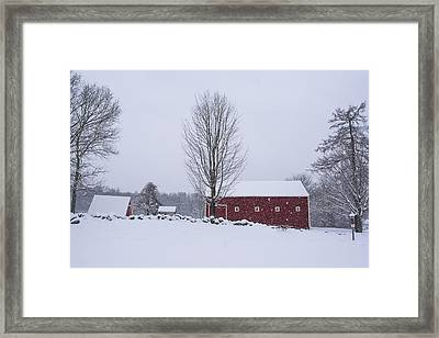 Wayside Inn Grist Mill Covered In Snow Storm 2 Framed Print