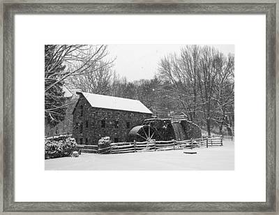 Wayside Inn Grist Mill Covered In Snow Storm Black And White Framed Print by Toby McGuire