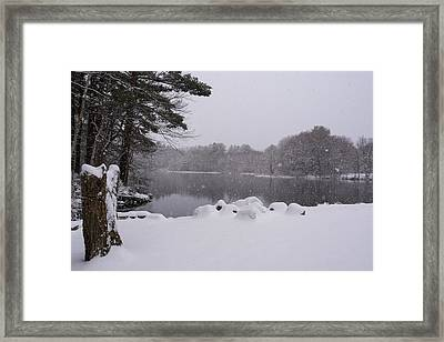 Wayside Inn Grist Mill Covered In Snow Storm Pond Framed Print