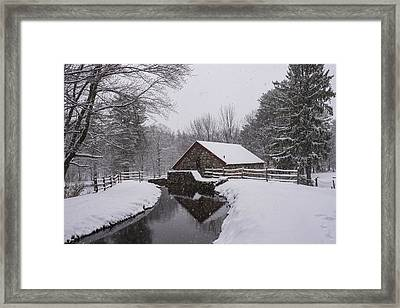Wayside Inn Grist Mill Covered In Snow Storm Reflection Framed Print