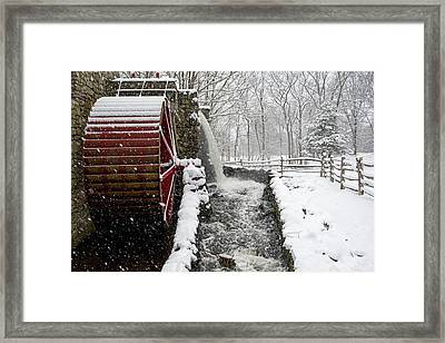 Wayside Inn Grist Mill Covered In Snow Storm Side View Framed Print