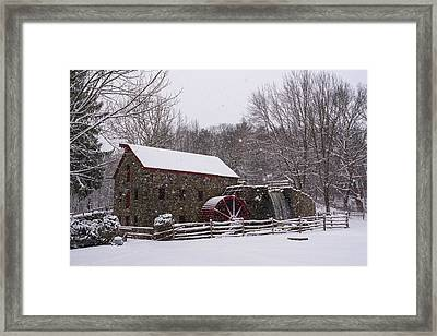 Wayside Inn Grist Mill Covered In Snow Storm Framed Print