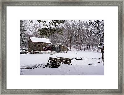 Wayside Inn Grist Mill Covered In Snow Framed Print