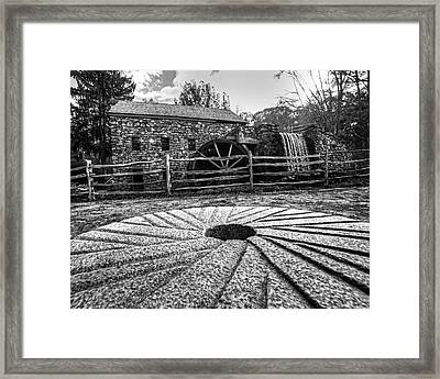 Wayside Inn Grist Mill Millstone Black And White Framed Print