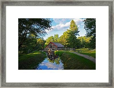Wayside Inn Grist Mill Reflection Framed Print