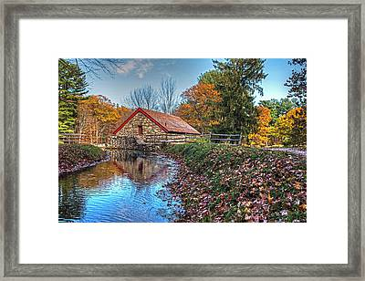 Wayside Inn Grist Mill Stream Sudbury Ma Framed Print