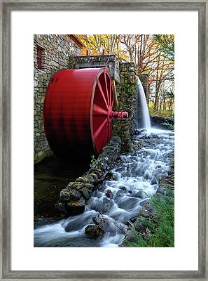 Wayside Inn Grist Mill Water Wheel Framed Print by Betty Denise
