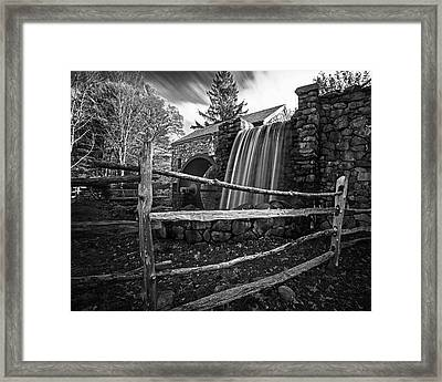 Wayside Inn Grist Mill Waterfall Sudbury Ma Black And White Framed Print