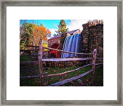 Wayside Inn Grist Mill Waterfall Sudbury Ma Framed Print