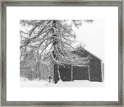 Wayside Inn Red Barn Covered In Snow Storm Reflection Black And White Framed Print