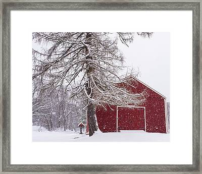 Wayside Inn Red Barn Covered In Snow Storm Reflection Framed Print