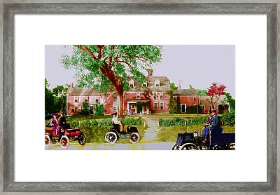Wayside Inn With Autos Framed Print