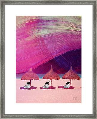 Framed Print featuring the digital art We Are But Sheep On The Beach by Jean Moore