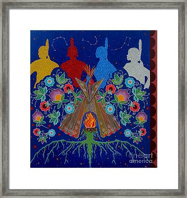 Framed Print featuring the painting We Are One Bond by Chholing Taha