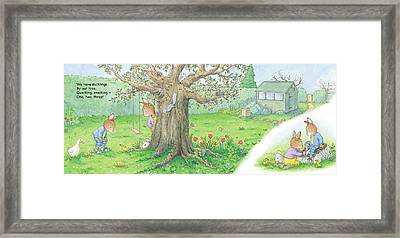 We Have Ducklings By Our Tree -- With Text Framed Print by June Goulding