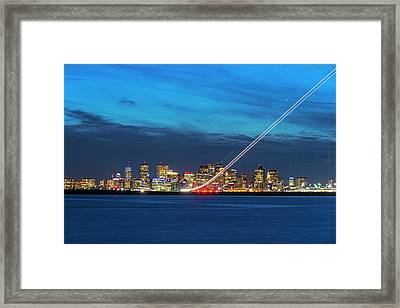 We Have Liftoff - Plane Taking Off From Logan Airport Boston Ma Steep Framed Print