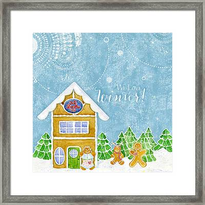 We Love Winter - Modern Gingerbread Bake Shop W Boy N Girl Gingerbread Men Framed Print
